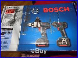 Bosch 18v 2 Tool Combo Kit Clpk222-181 1/2 Hammer Drill / 1/4 Hex Impact New