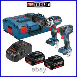 Bosch 06019G4273 18V Brushless Twin Pack + 2 x 5.0Ah Batteries, Charger & Case