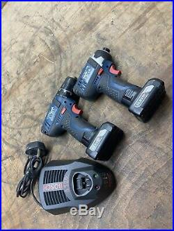 Bosch 12v Twin Pack GSB Combi Hammer Drill + GDR Impact Driver 10.8v 4.0ah T580
