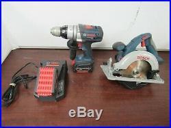 Bosch 18V Power Tool lot Hammer Drill/ Saw, 2 Batt & Charger 25e