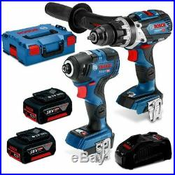 Bosch 18v Brushless Impact Driver + Hammer Drill + 2 Batteries 5.0ah Combo Kit