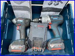Bosch 18v Li Ion Cordless Hammer Drill + Impact Driver Tool Set 4.0Ah Batteries