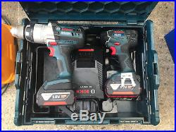 Bosch 18v Lithium Ion GSB Robust Combi Hammer Drill + GDR Impact Driver + LBOXX