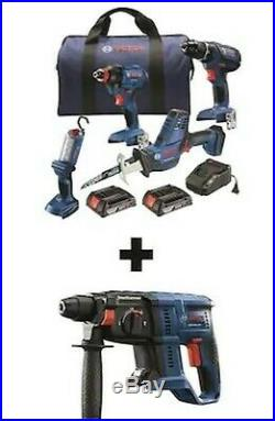 Bosch 5-Tool 18-Volt Power -Tool Combo Kit with Cordless Rotary Hammer