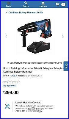 Bosch Bulldog GBH18V-26DK15 Rotary Hammer Drill 18 Volt Cordless 1in. 4.0ah NEW