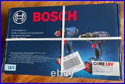 Bosch CORE18V Set, 1/2 In. Hammer Drill, Impact Driver, 2 x 4.0Ah Batt, Case NIB