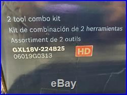 Bosch GXL18V-224B25 18V Cordless 2-Tool Combo Kit New