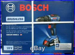 Bosch Gsb18v-490b12 1/2 In Brushless Hammer Drill/driver Kit, New