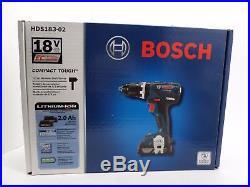 Bosch HDS183-02 18V 1/2 2.0Ah Brushless Hammer Drill Driver Kit NEW