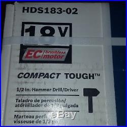 Bosch HDS183-02 18V Lithium-ion Cordless 1/2 Hammer Drill/Driver Kit NEW