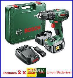 Bosch Keyless Cordless Lithium-Ion Hammer Drill Driver + 2 x 2.0Ah 18V Batteries