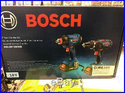 NEW, BOSCH GXL18V-239B25 18V 2-TOOL COMBO KIT hammer drill & impact driver