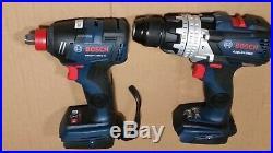 New Bosch GSB18V-755C 18V Hammer Drill & New Bosch GDX18v-1800c Impact Driver